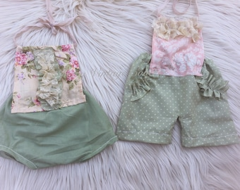 Sitter romper, bloomer, upcycled romper, vintage, organic, photo prop