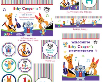 Customized Baby Einstein Birthday Invitation and Party Kit