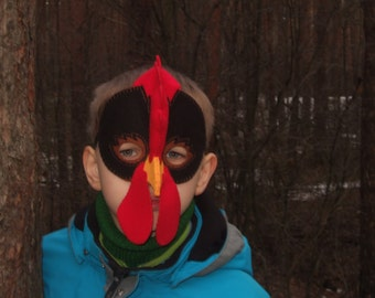 Rooster felt mask for kid - black red yellow - farm animal chicken costume for boy - handmade Dress up play accessory - Theatre roleplay