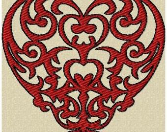 Machine embroidery Design - Damask Heart