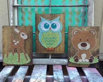 owl string art etsy. Black Bedroom Furniture Sets. Home Design Ideas