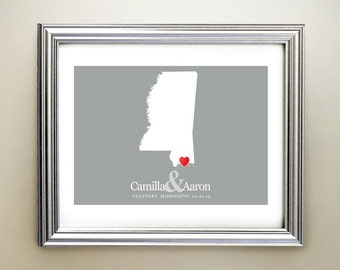 Mississippi Custom Horizontal Heart Map Art - Personalized names, wedding gift, engagement, anniversary date