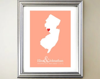 New Jersey Custom Vertical Heart Map Art - Personalized names, wedding gift, engagement, anniversary date