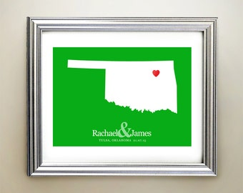 Oklahoma Custom Horizontal Heart Map Art - Personalized names, wedding gift, engagement, anniversary date