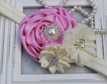 Pink girls headband, baby girls headband, ivory and pink flower headband, girls hair accessory, pink birthday headband, boutique headband
