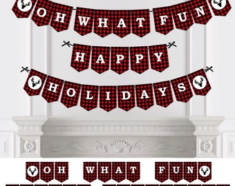 Prancing Plaid Bunting Banner - Holiday Party Bunting Banner & Decorations - Hanging Custom Buffalo Plaid Christmas Party Décor