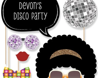 70's Disco Photo Booth Props -  70's Disco with Mustache, Hat, Bow Tie, Glasses and Custom Talk Bubble - Disco Prom Theme Party - 20 pc.