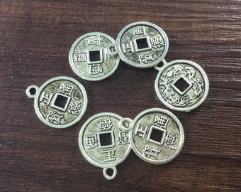 25pcs 17*15mm Antique Silver Chinese Charms,Coin Charms,Findings , Commercial