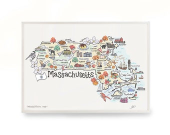 Massachusetts Art, Massachusetts Map, Massachusetts Print, Unframed, Print Signed by Artist, Printed on watercolor paper