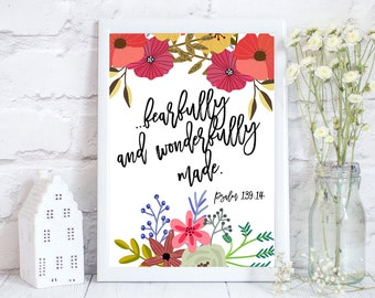 Bible verse print, Scripture art, Christian Wall art, Bible verse wall art, bible verse art, fearfully and wonderfully made, psalms 139,