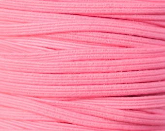 "1/8 inch Skinny Elastic by the Yard, Thin Elastic for Skinny Elastic Headbands, 1/8"" Elastic by the Yard, 5 yards or 10 yards Rose Pink"