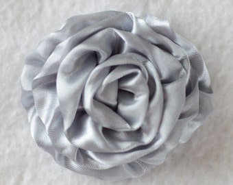 "3"" Rose Flower Head, Wholesale Satin Roses for Flower Head Bands, Lot of 1, 2, 5 or 10 - Grey"