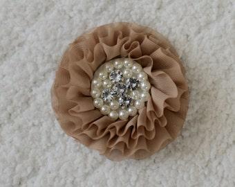 3 inch Rhinestone Chiffon Flower Heads, Wholesale Hair Flowers for Headbands, Lot of 1, 2, 5 or 10, Tan