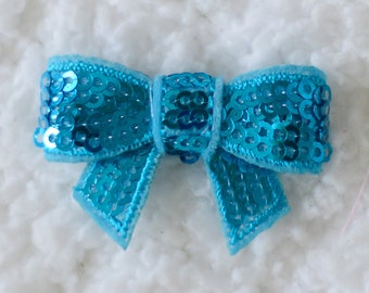 1.5 inch Mini Sequin Bows, Embellishments for Hairbows, DIY Crafting Supplies, Mini Applique Sequin Bow, Blue, Lot of 1 or 2