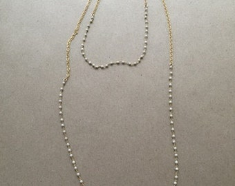 Double Layer Necklace with White Beads