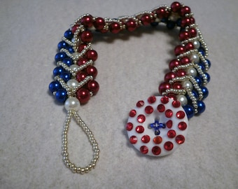 Red White and Blue Reversible Patriotic Beaded Bracelet with Glass Pearls and Seed Beads Perfect for Mother's Day (BB01)
