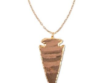 Stone Arrowhead Necklace | Gold / Jasper