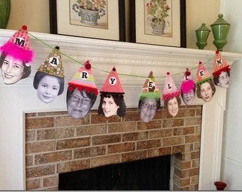 Custom Birthday Face/Hat Party Banner, LARGE FORMAT