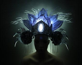 Bali Ice Queen - LED Headdress - Bali Inspired - Glowing head piece - Show Girl Headpiece