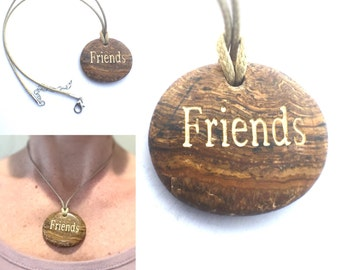 Friends, Pendant, Picture Jasper, Bohemian Necklace, Word Necklace, Friendship Gift, Friend Gift, Quote Jewelry Word Stone BOHO Jewelry, BFF