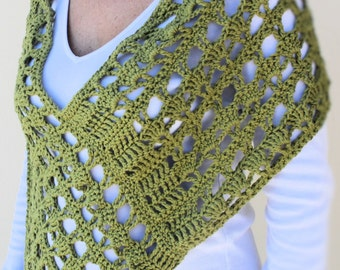 Summer Crochet Poncho, Shoulder Wrap, Capelet in cotton, army green, made to order in any colour