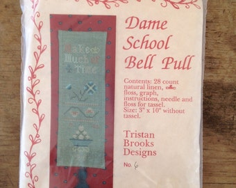 Counted Cross Stitch Sampler Kit Dame School Bell Pull by Tristan Brooks Designs 1988 No. 6