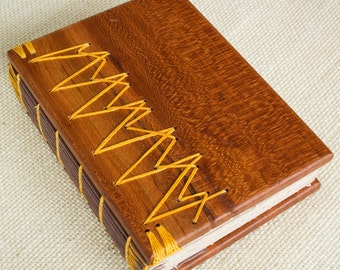 Small Wooden Book, Red Cherry, Coptic Bound, Hand Stitched