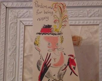 Birthday Nosey Woman Card Unused Envelope 1950's