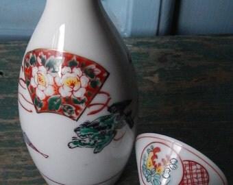 Vintage Japanese Saki Bottle and Cup!
