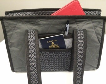 Ipad Laptop Travel Bag, Small Laptop Travel Bag, Carry on travel bag-Charcoal Pattern