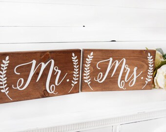 Mr and Mrs Wooden Chair Wedding Signs