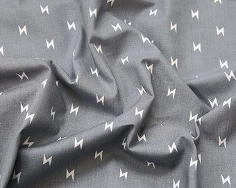 Lightning Bolt Cotton Fabric by Yard - Grey Color