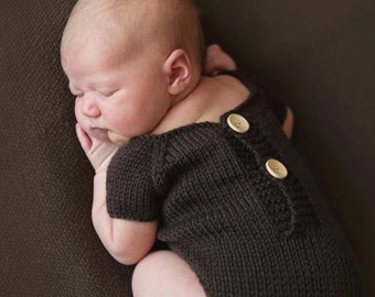 Baby knit short sleeved romper in chocolate brown with buttons, handmade newborn size romper, unique photo prop