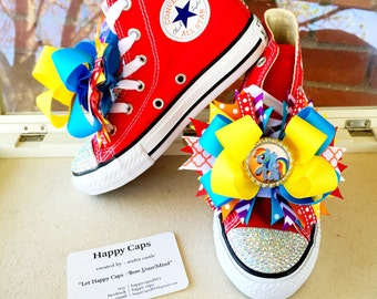 MY LITTLE PONY Rainbow Dash Shoes * Blinged Out Converse * Rainbow Dash Birthday * Rainbow Dash Party * Red Converse * Infant/Tdlr/Youth
