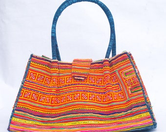 Vintage Embroidered Hmong Tote Bag
