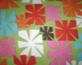 Remnant - Square Flowers Fleece Fabric 24 Inches