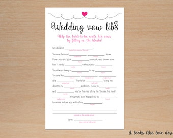 Wedding Vows Mad Libs Free Template Vow Etsy
