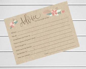 MISPRINT - Bridal Shower Advice Cards on Kraft - 20pk (MP-Advice2-KR)