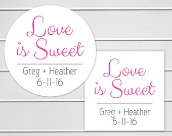 Love Is Sweet, Wedding Favor Sticker, Wedding Stickers, Wedding labels (#133)