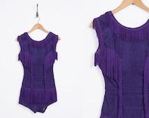 Vintage showgirl outfit // fringe onesie // burlesque stage costume