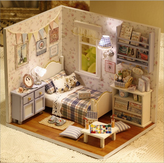 Wooden Dollhouse Miniatures 1 12 Furniture Kit Set For Sale Doll House With Lightin From