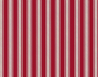 45'' Windham Fabrics Red Ticking Stripe Flannel by the Yard