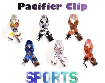 Pacifier Clip, Binky Clip * Sports * Soccer, Baseball,  Basketball