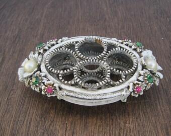 Vintage Florenza Vanity Lipstick Holder Faux Pearls and  Rhinestones Center Flowers