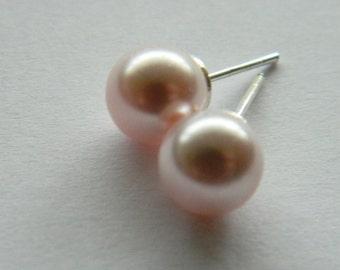 Light rose swarovski pearl earrings