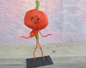 Vintage Crepe Paper Figure Pumpkin Head Jol Antique Party Favor Halloween Figurine #4 Jack O Lantern Dennison Style