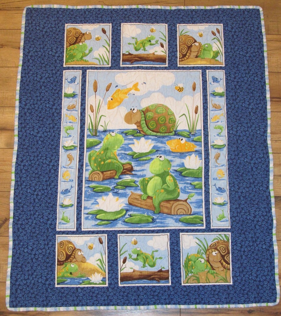Baby Quilt Patterns Using A Panel : Frog & Turtles Panel Baby Quilt Amphibians Quilt