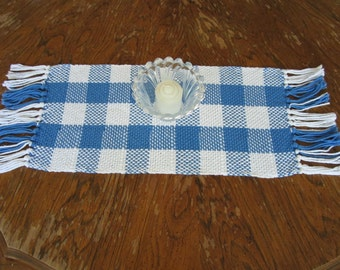 Rustic Hand Woven Table Runner ~ USA Grown Cotton ~ Lovely Blue and White Plaid ~ With Fringe