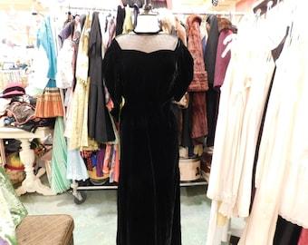 1800's  Black velvet Dress Victorian