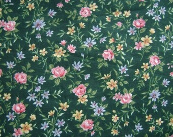 Floral Dark Green Cotton Fabric Sold by the Yard